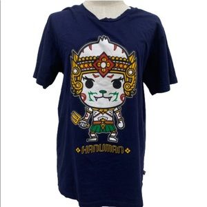 Nylon Smile Navy Blue Hanuman graphic t-shirt